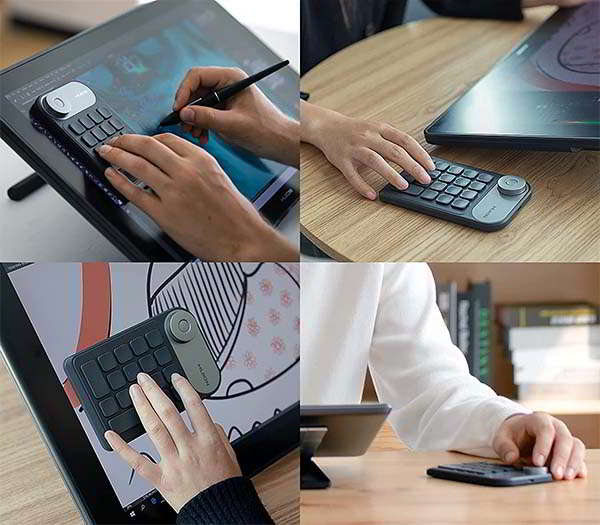 HUION Mini Keydial KD100 Wireless Keypad with Dial Controller