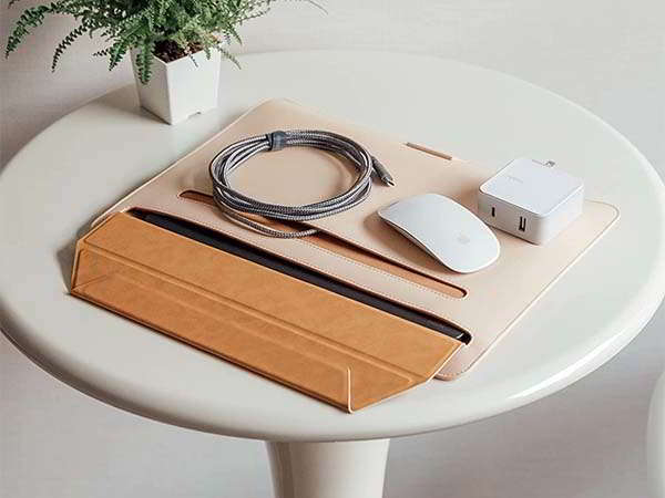 Moshi Muse Leather Laptop Sleeve Doubles as Laptop Stand