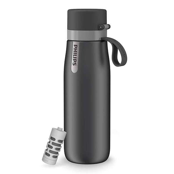 Philips GoZero Everyday Stainless Steel Filtering Water Bottle with Double-wall Insulated Structure