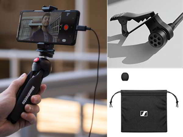 Sennheiser Clip-on Lavalier Microphone with Manfrotto PIXI Mini Tripod and Smartphone Clamp