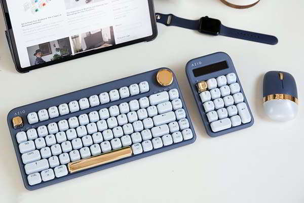 AZIO IZO Compact Wireless Mechanical Keyboard, Bluetooth Mechanical Number Pad with Calculator and Wireless Mouse