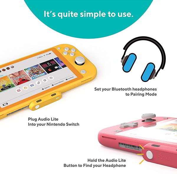 Genki Audio Lite Bluetooth Audio Adapter with aptX for Nintendo Switch and Switch Lite