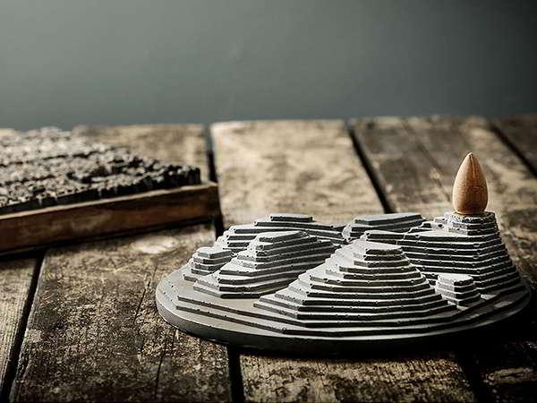 Handmade Concrete Backflow Incense Holder Inspired by Terrace