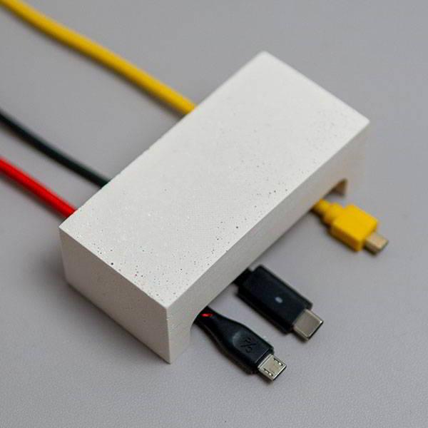 Handmade Jesmonite Desktop Cable Management Box