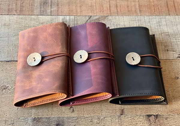 Handmade Personalized Leather Cable Organizer and Passport Holder