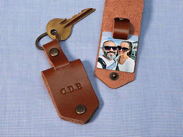 Handmade Personalized Leather Keychain with Photo