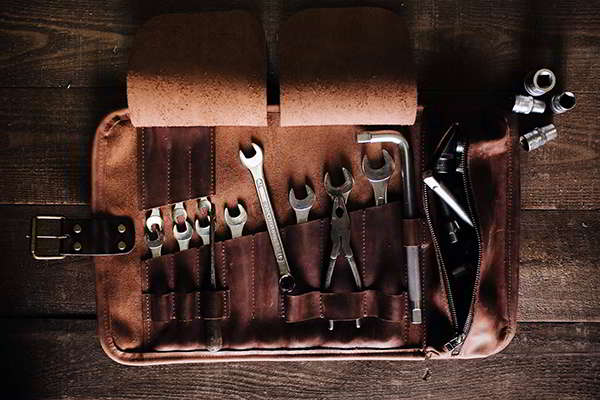 Handmade Personalized Leather Tool Roll with Zippered Pocket