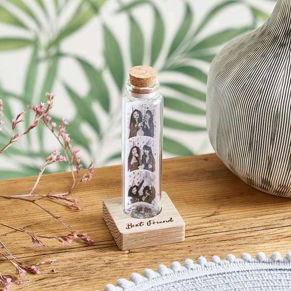Handmade Personalized Message in a Bottle with Wooden Base