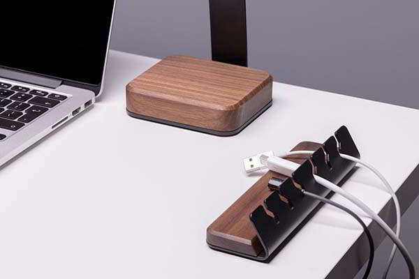 Handmade Steel and Wooden Desk Cable Holder