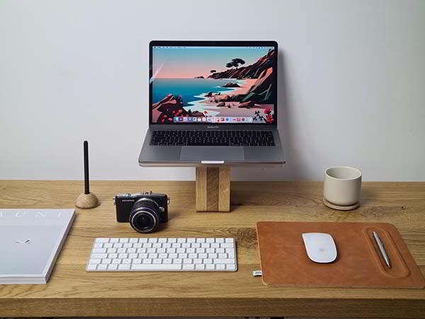 Handmade Tan Leather Mousepad with Pen Rest