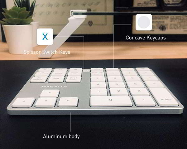 Macally Aluminum Bluetooth Keypad with 35 Keys