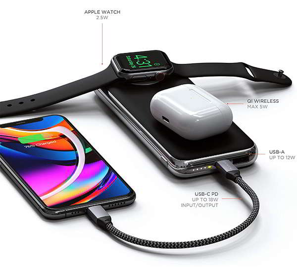 Satechi Quatro Wireless Power Bank with Apple Watch Charger