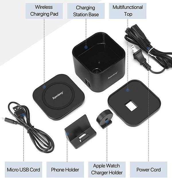 Superdanny Wireless Charging Station with 5 USB Ports