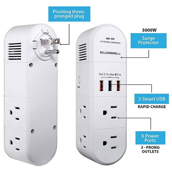 Swivel Power Portable Surge Protector with USB Charger