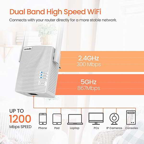 Tenda A18 AC1200 WiFi Extender with Ethernet Port