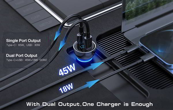Baseus 65W USB-C Car Charger with PD3.0 & QC4.0