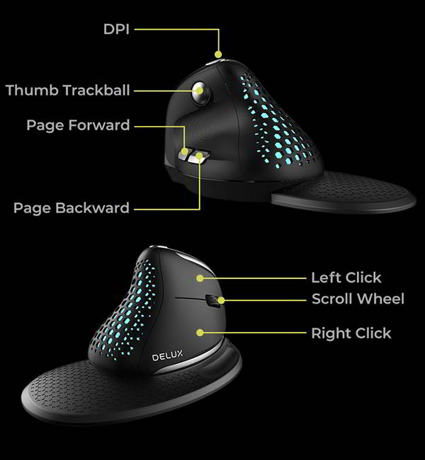 Delux Seeker Ergonomic Wireless Vertical Mouse with OLED Screen and Magnetic Wrist Rest