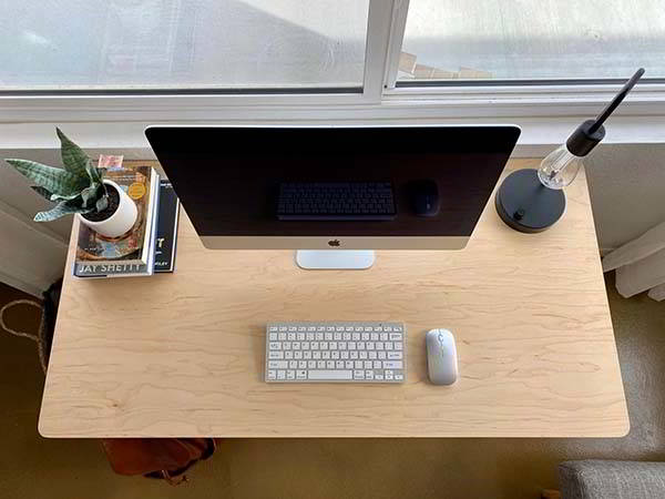 Handmade Modern Wood Desk with Cable Channel
