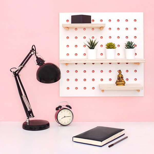 Handmade Wooden Pegboard Wall Oragnizer with Shelves and Pegs