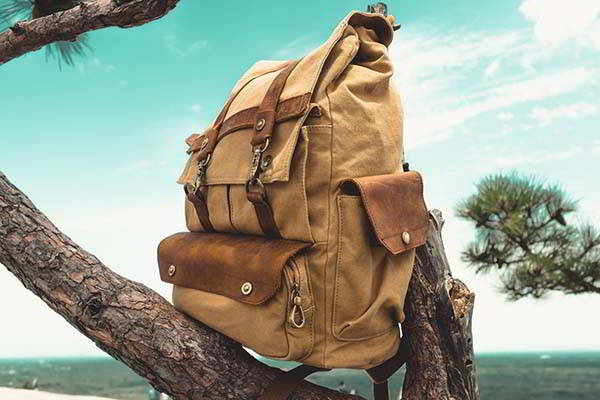 Handmade Personalized Canvas Backpack with Leather Accents