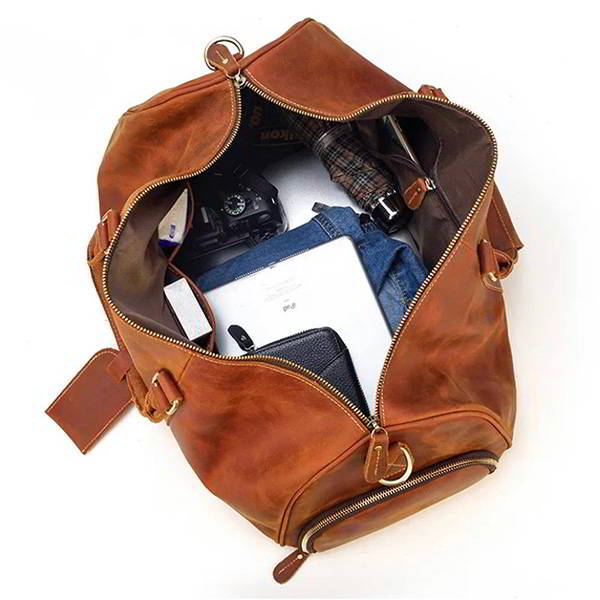 Handmade Personalized Leather Duffle Bag with Shoe Compartment