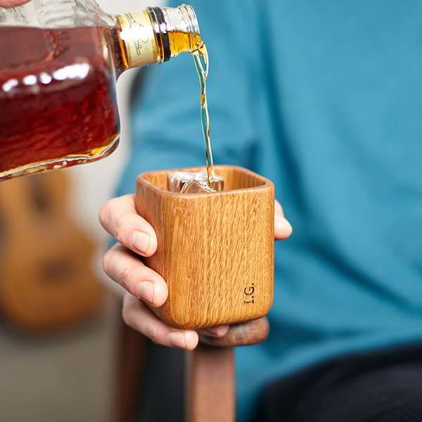Handmade Personalized Wooden Whiskey Tumbler