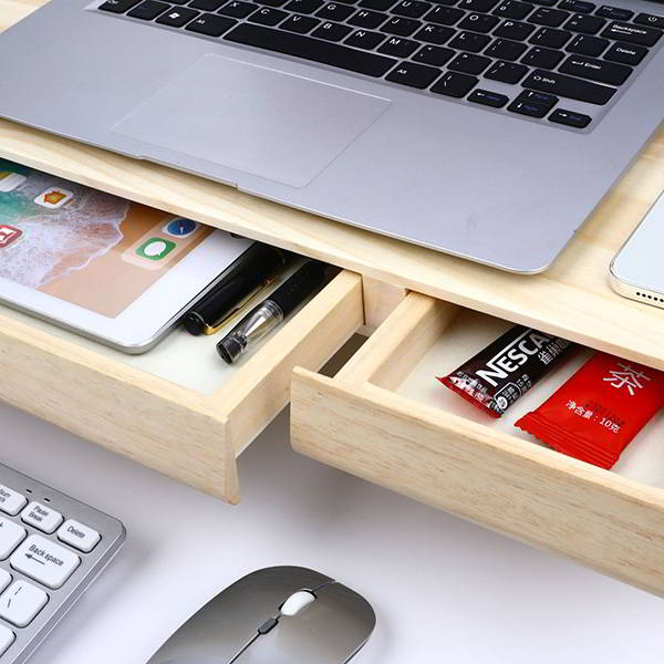 Handmade Wooden Monitor Stand with Drawers
