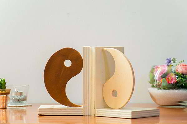 Handmade Yin and Yang Wooden Bookends