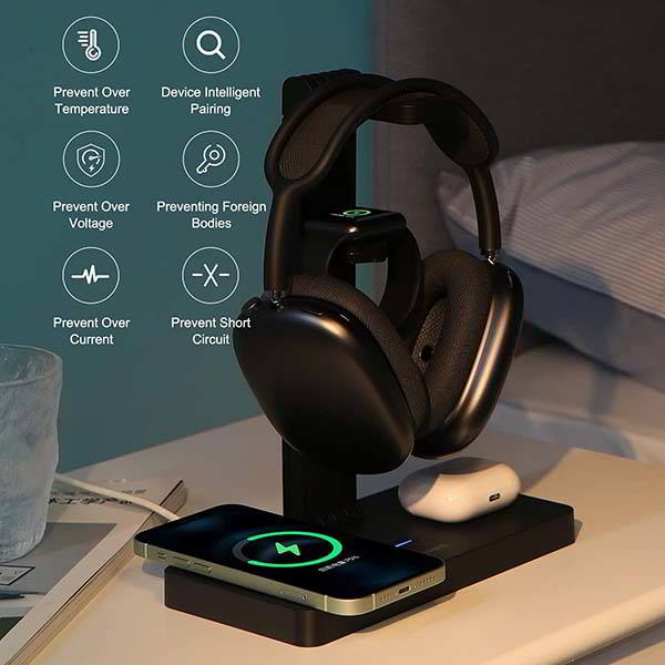 Higibis Headphone Stand with Wireless Charging Station