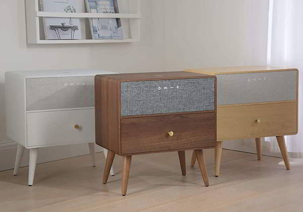 Koble Ralph Wooden Side Table with Bluetooth Speaker and Wireless Charging Pad