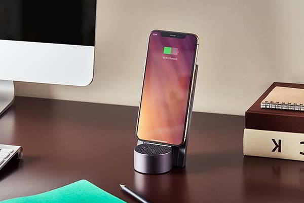 Lexon City Energy Wireless Charging Stand with Bluetooth Speaker