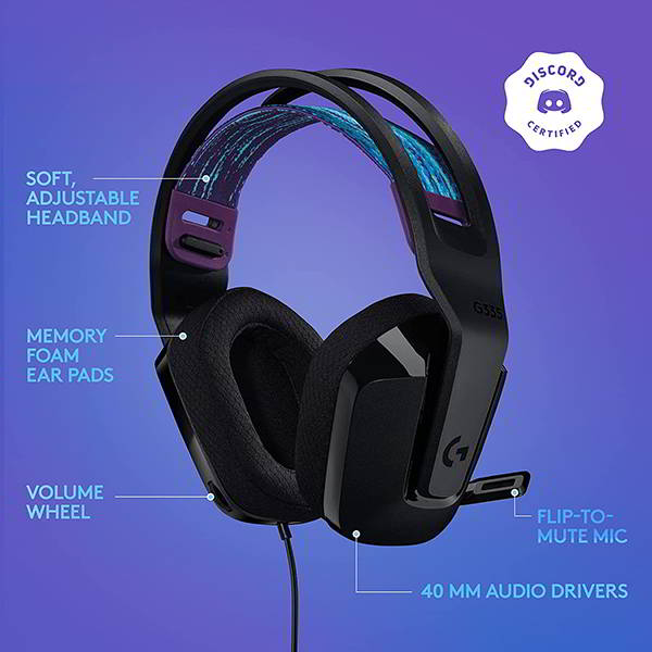 Logitech G335 Wired Gaming Headset with Flip-to-mute Microphone