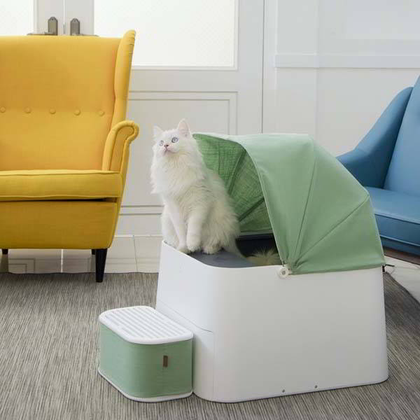 Pluto Square Smart Self-Cleaning Cat Litter Box with Custom Stepper and Canopy