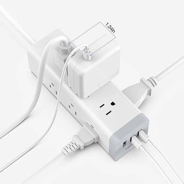 TESSAN 3-Sided Surge Protector with 3 USB Ports