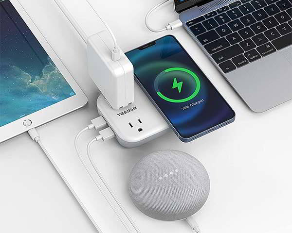 TESSAN Desktop Power Strip with Wireless Charger and USB Ports