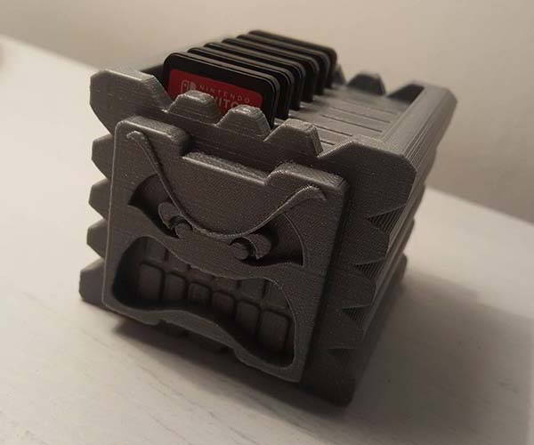 3D Printed Nintendo Switch Game Card Holder Shaped as Thwomp