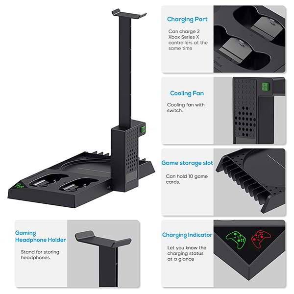 Auarte Xbox Series X Cooling Stand with Headset Holder, Controller Charging Dock and More