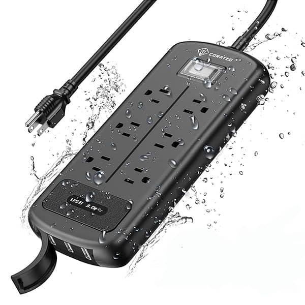 Corated Waterproof Outdoor Surge Protector with 3 USB Ports