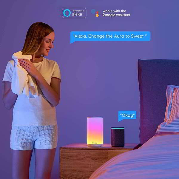 Govee Aura Smart Table Lamp Works with Alexa and Google Assistant