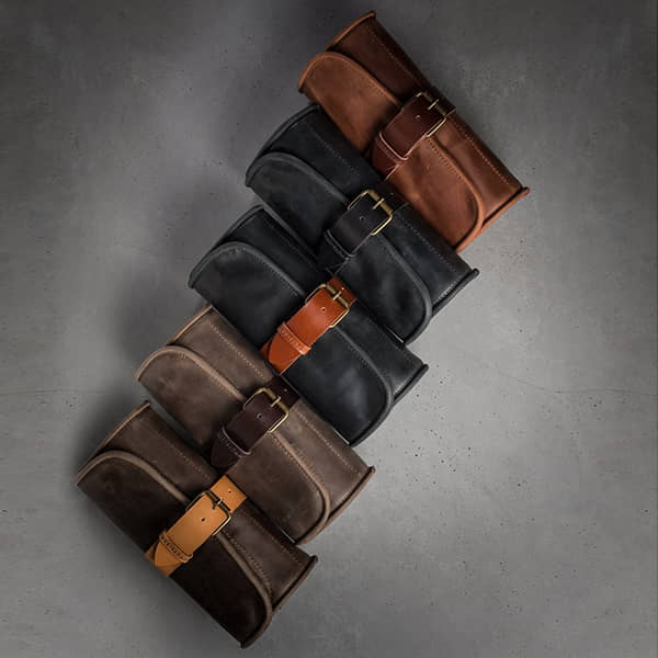 Handmade Hanging Roll-Up Leather Toiletry Bag