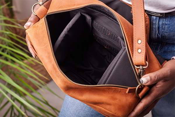 Handmade Leather Messenger Camera Bag with Optional Personalization
