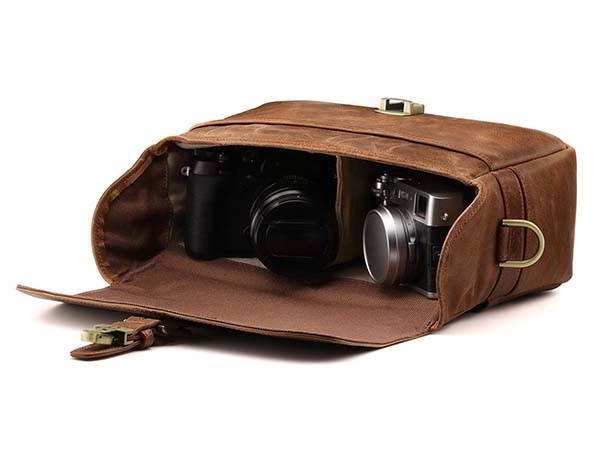 Handmade Personalized Leather Camera Bag for Instant, DSLR and Mirrorless Cameras