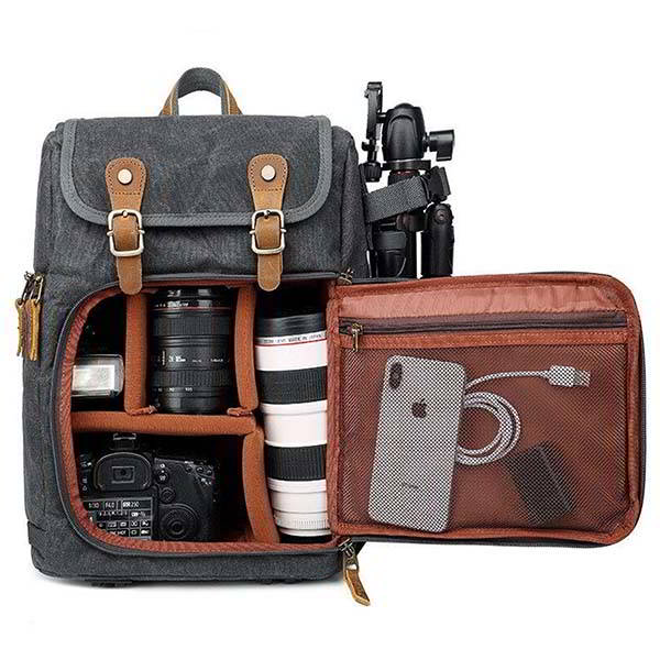Handmade Waterproof Canvas Camera Backpack with Removable Padded Insert