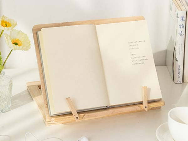Handmade Wooden Book Stand Supports Books, Tablets and Laptops