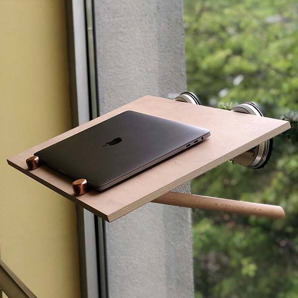 Handmade Wooden Window Standing Desk with Tilting Desktop