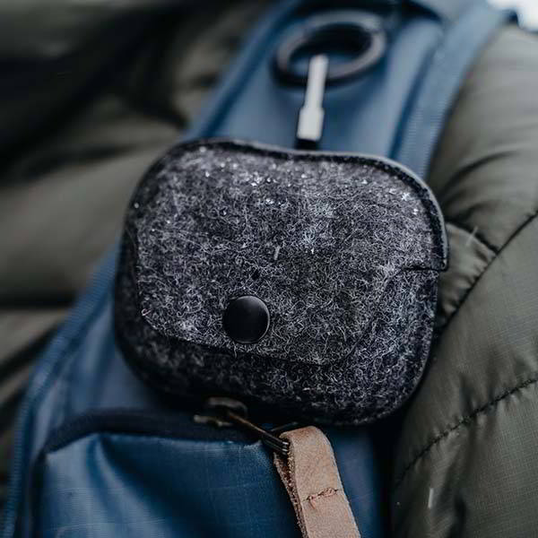Handmade Wool Felt AirPods Pro Case with Clip