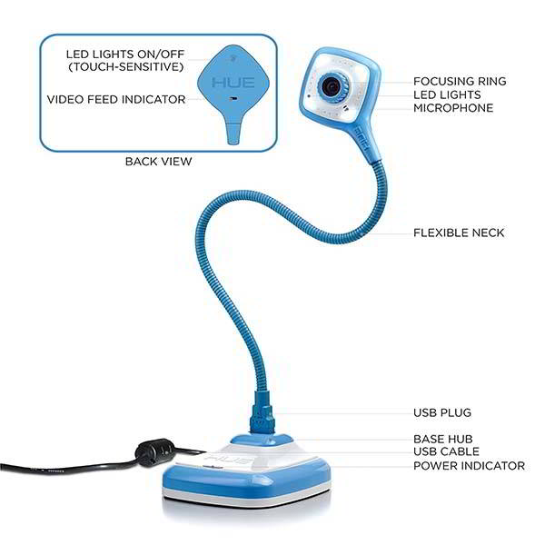 HUE HD Pro USB Document Camera with Built-in Microphone and LED Lights