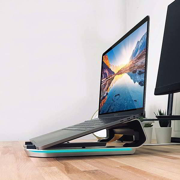 Macally MHUBSTAND RGB Aluminum Laptop Stand with USB Hub