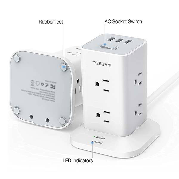 Tessan Tower Surge Protector with 3 USB Ports