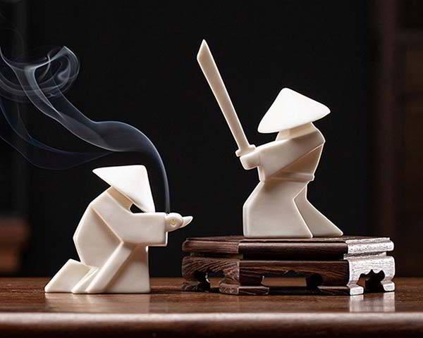 Handmade Ceramic Incense Stick Holder Inspired by Samurai